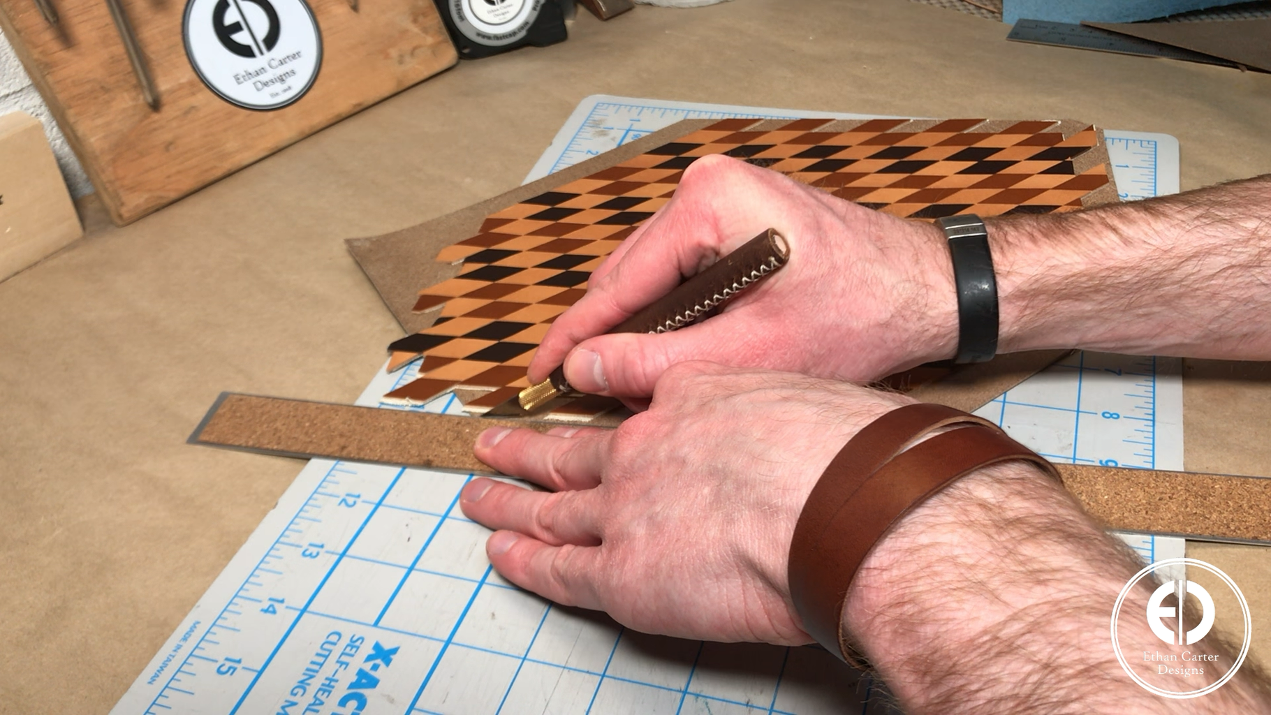 Cutting the Circle for Patterned Leather Clock Face