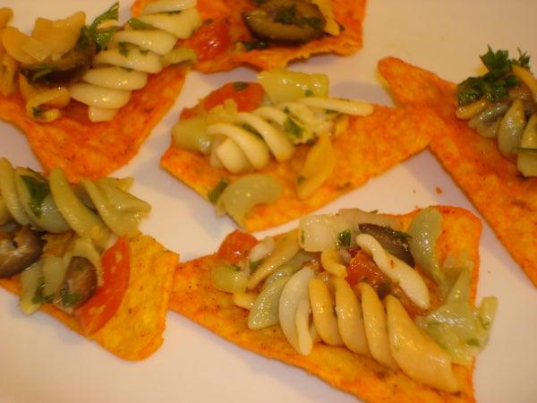 Nacho Cheese Rotini Salad on a Chip