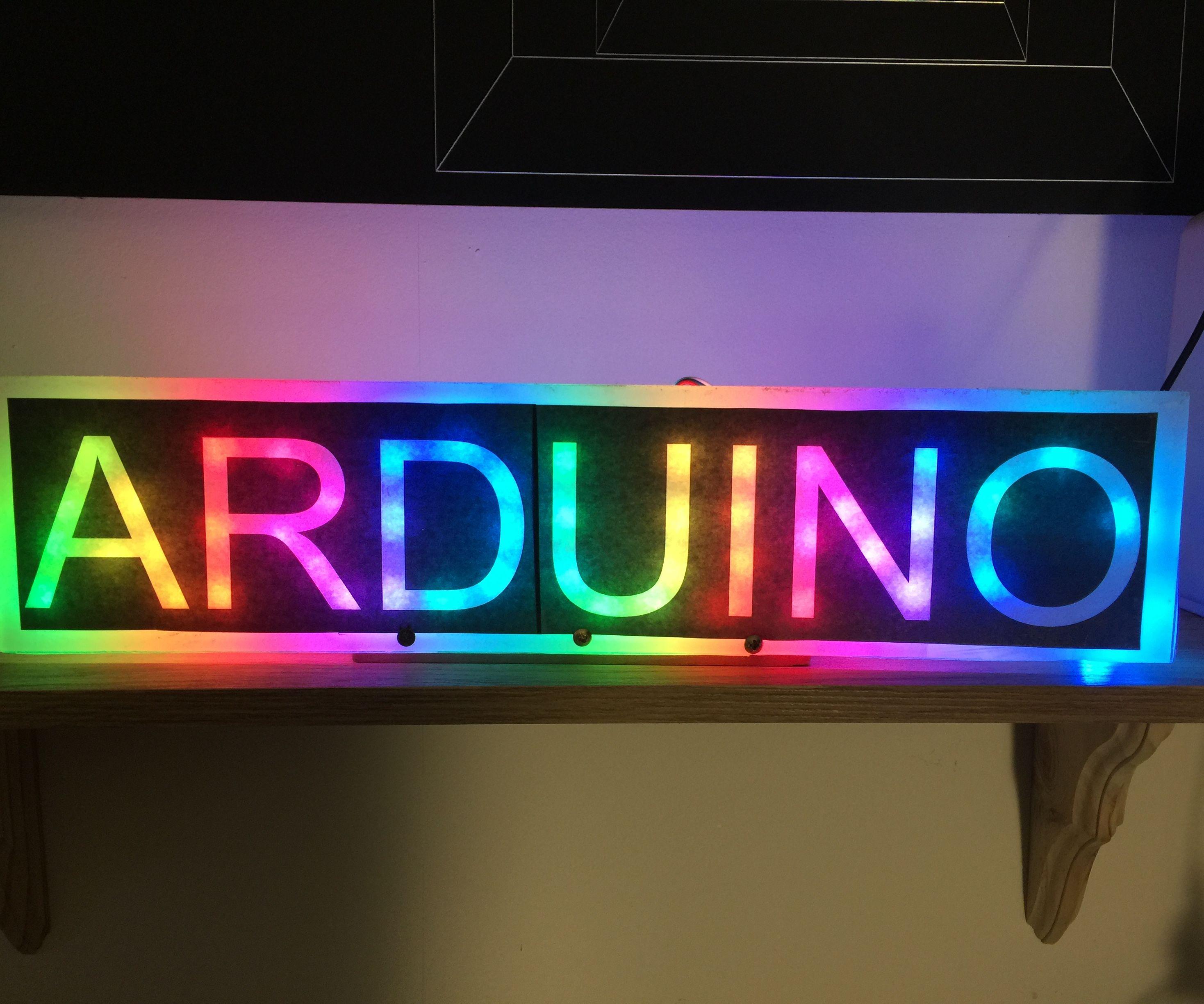 Moving Rainbow Arduino Sign