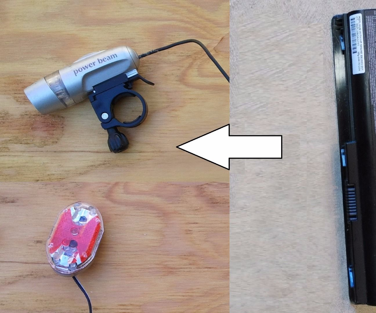 Recycling a Laptop Battery Pack for Bicycle Lighting