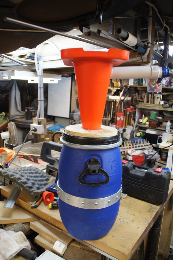 Dust Cyclone Made From a Traffic Cone