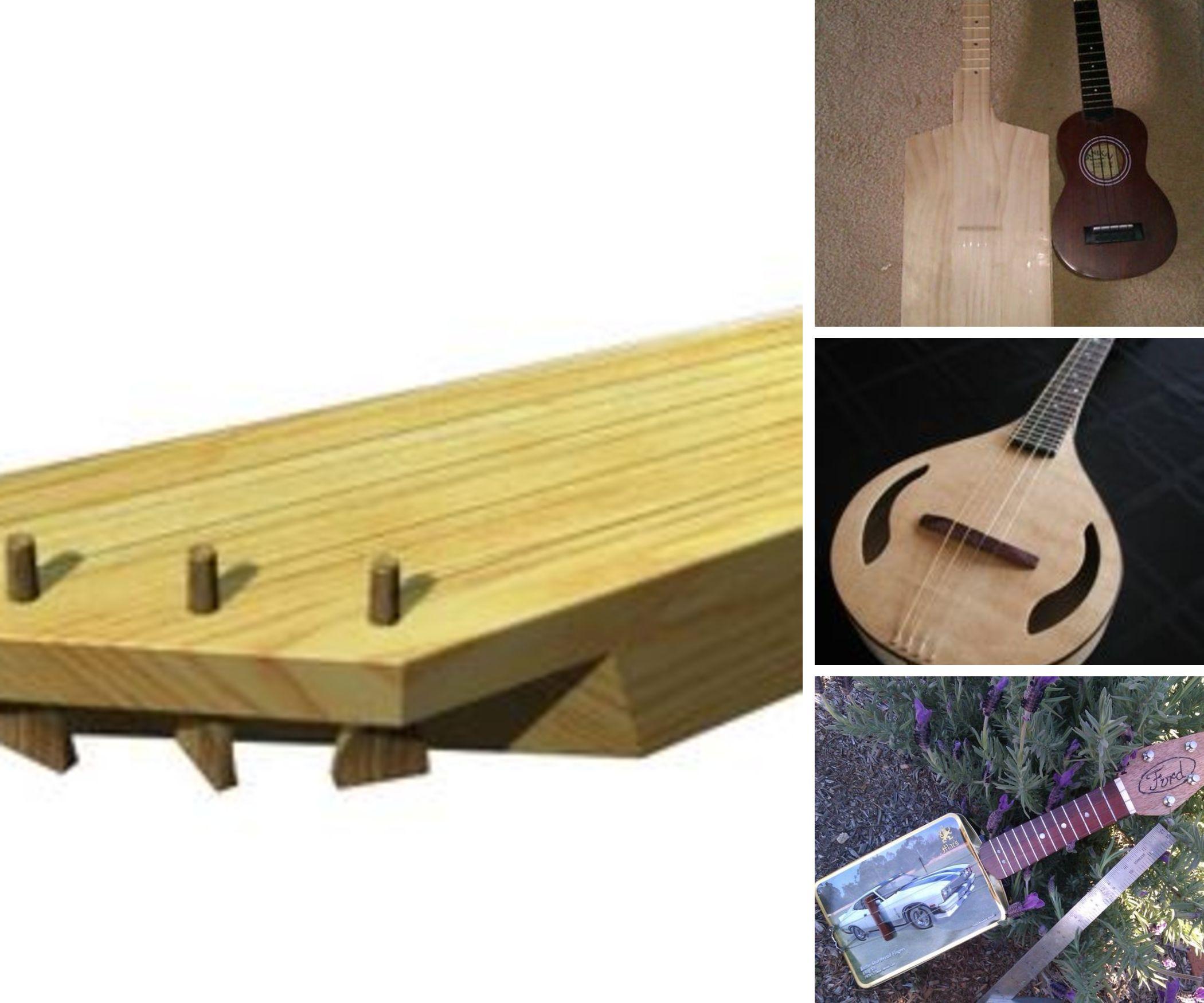 ukulele and cigar box , lap steell