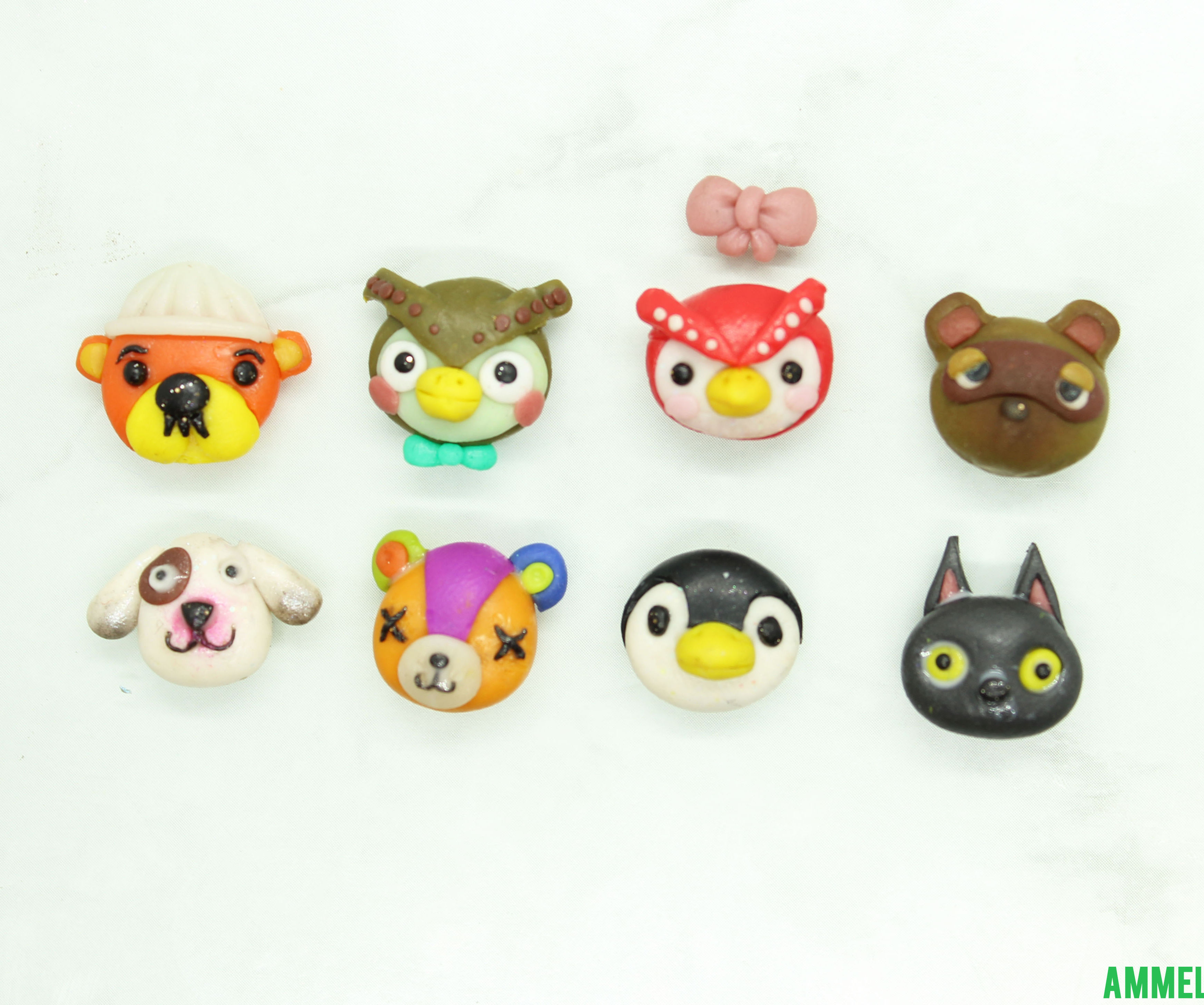 Animal Crossing Character Faces From Polymer Clay