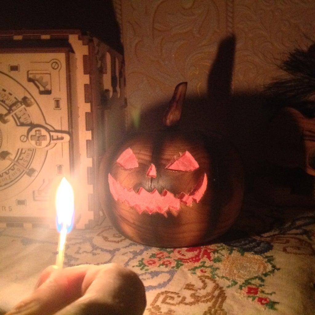Halloween Pumpkin Made of Wood