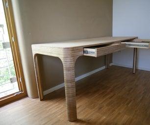 双层家庭办公室用胶合板办公桌