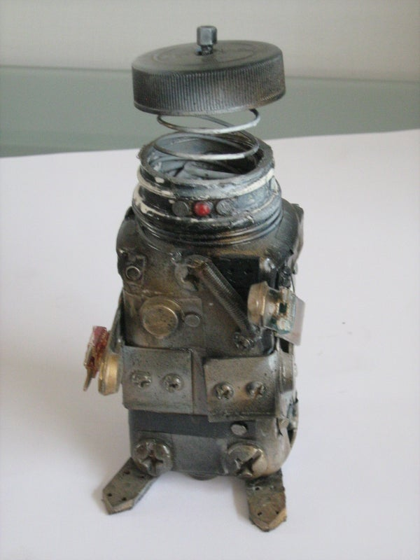 Custom Transformable Steampunk Robot Recycled Action Figure