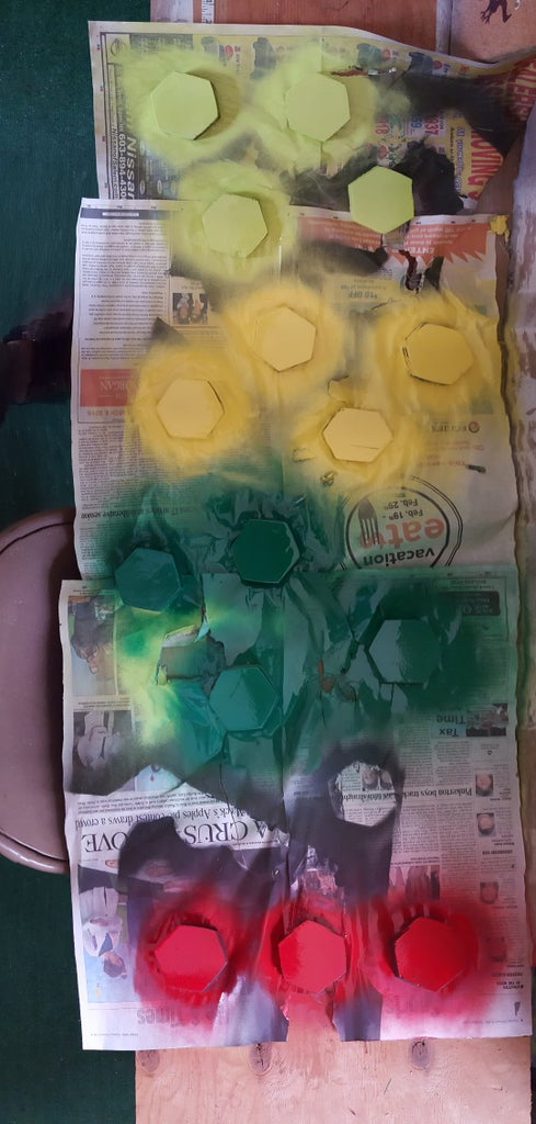 Spray Painting the Board & Pieces