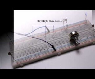 Day Night Sun Sensor Made of Potentiometer LED LDR No Microcontroller
