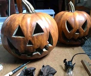 Halloween Aged Lit Plastic Pumpkin