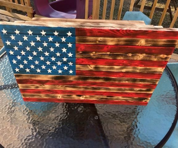 Hidden Compartment Wood American Flag