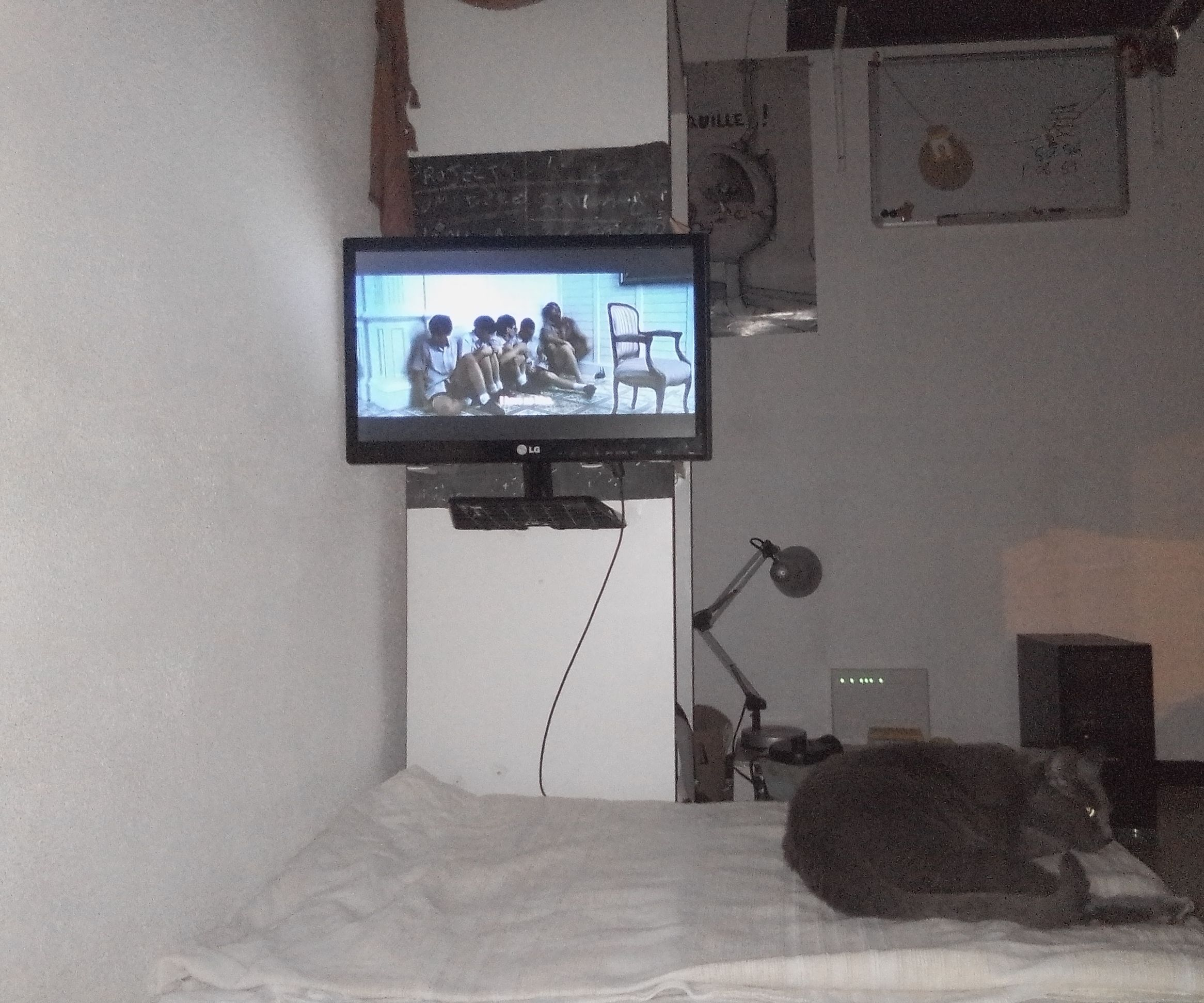 TV Monitor Mounted on Wood in My Room.