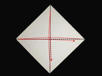 Start With Square Paper.Make Creases by Folding the Egdes to Opposite Edges,then Unfold.