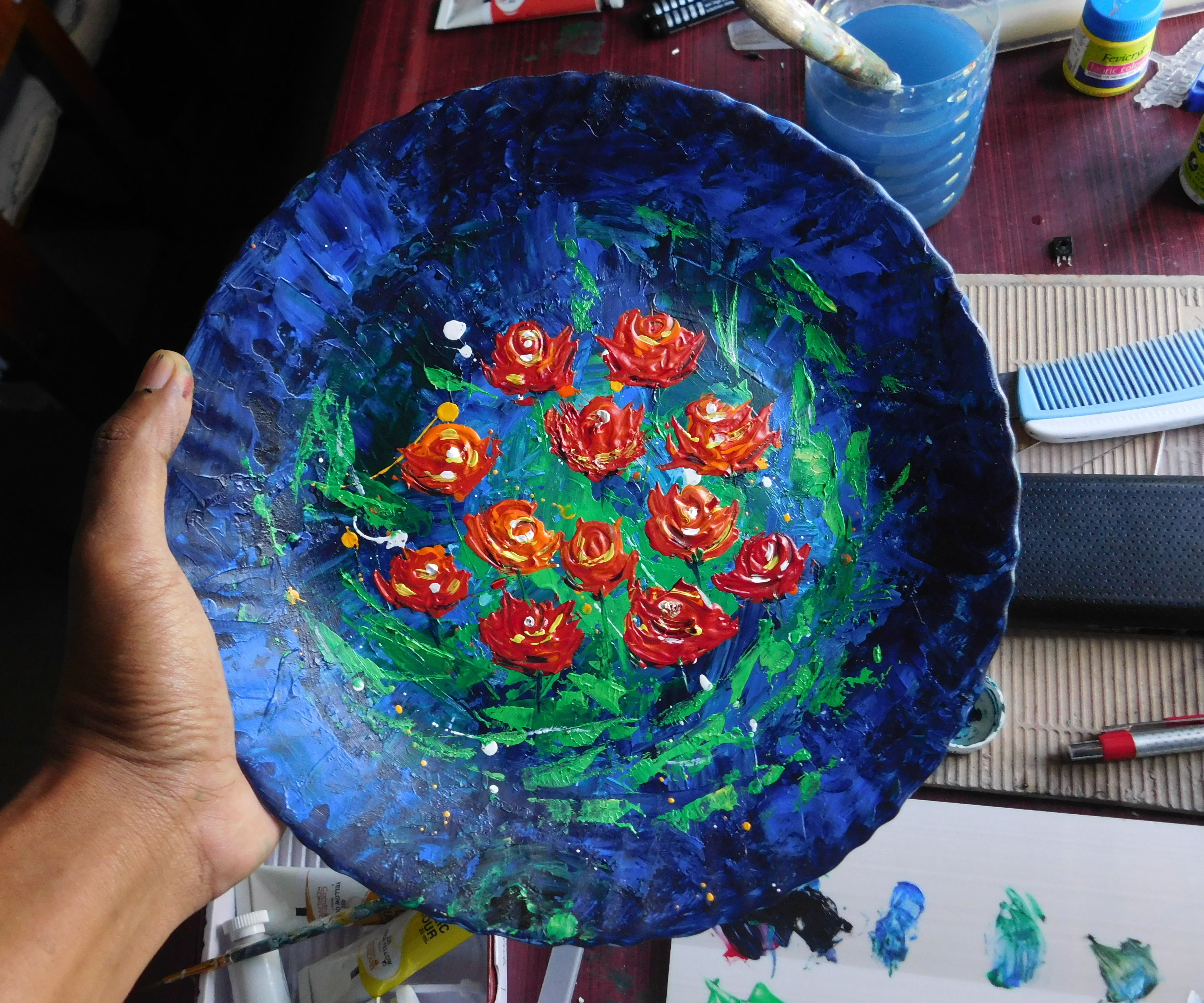 Abstract Flower Painting on Broken Ceramic Plate