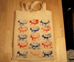 Stamped Fox Tote Bag