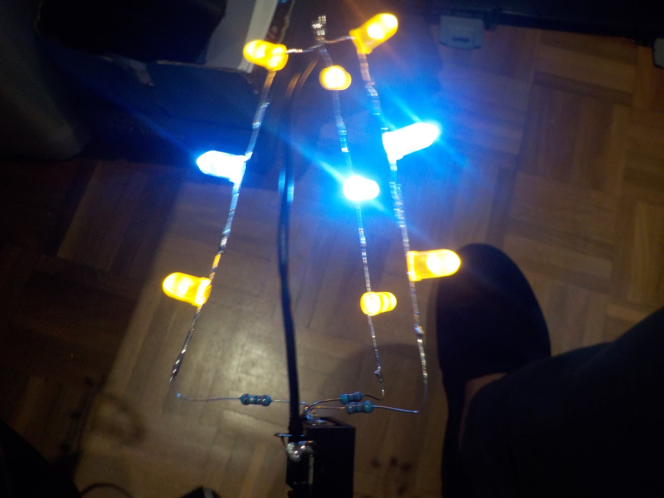 Solder the LEDs to the DC Jack