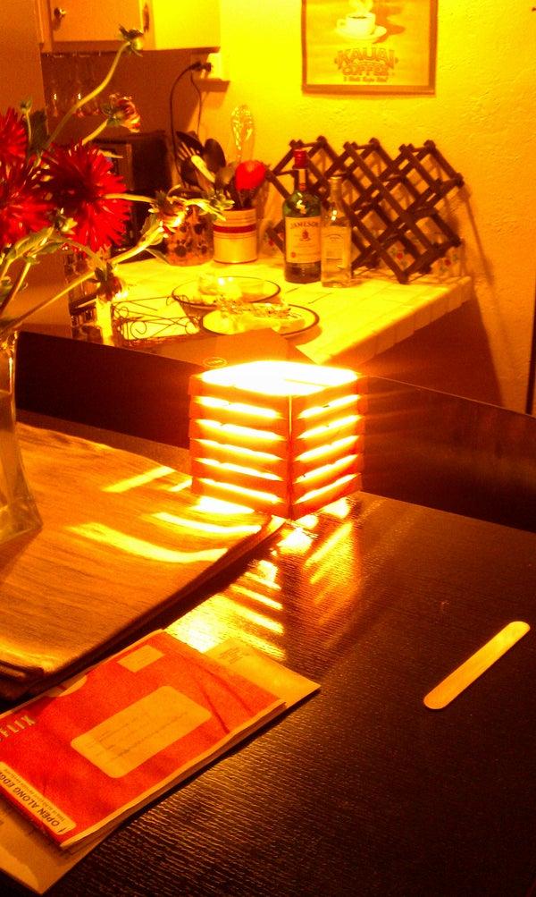 Make a Popsicle Stick Shutter Lamp