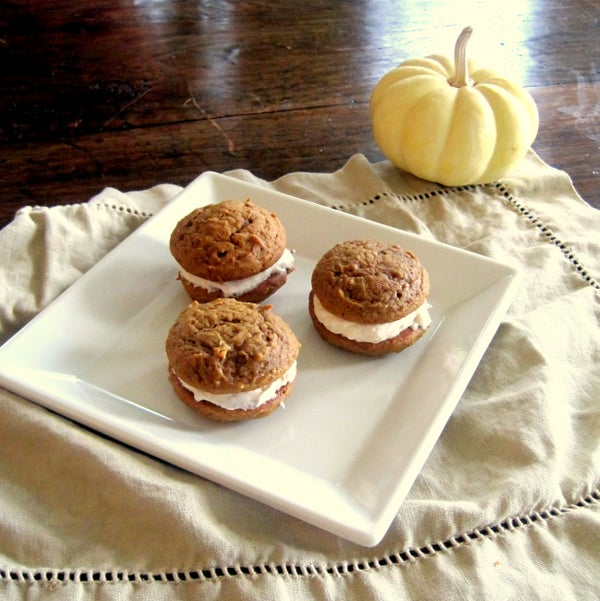 Pumpkin Spice Whoopie Pies With Cinnamon Cream Cheese Frosting