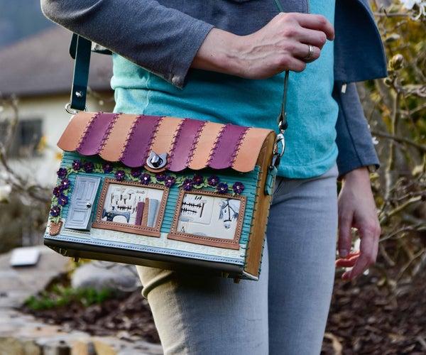 皮革雕刻的可更换盖子的马鞍式商店门面包,将皮革缝制成木制英式和德式