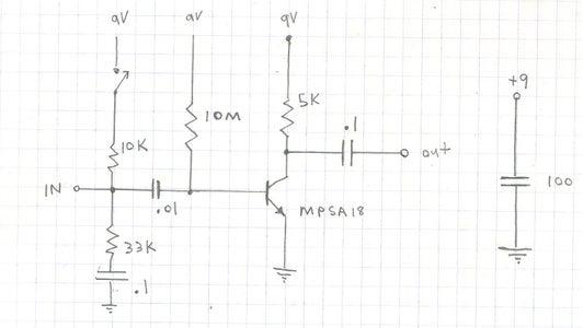 MPSA18 Single Transistor Preamp. High Gain