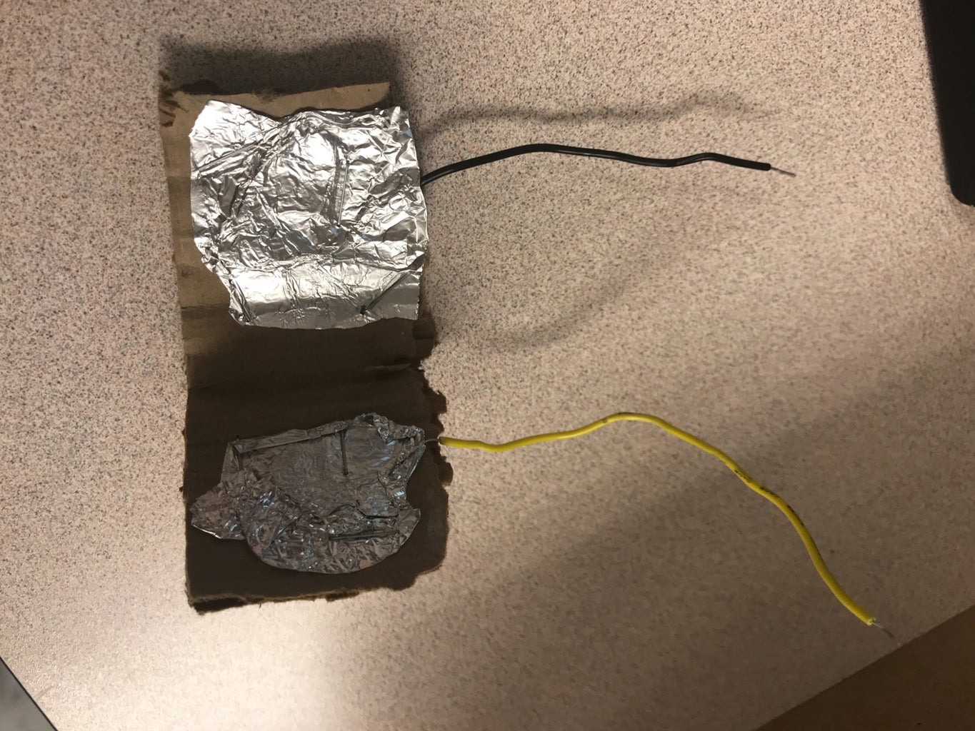 Connecting Wrapped Wires to Cardboard