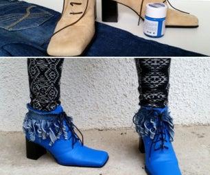 My Upcycled Denim Fringed Painted Shoe Refashion