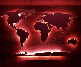LED World Map From Wood