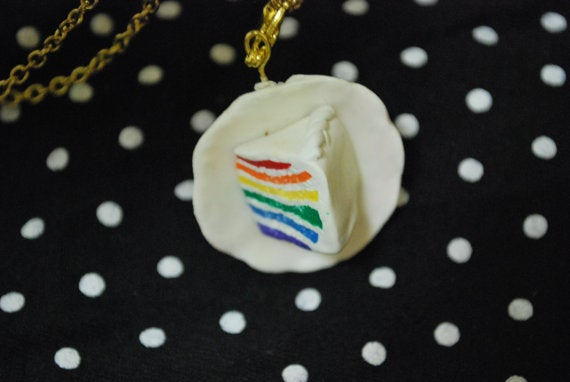 Cute Little Polymer Clay Rainbow Cake Necklace