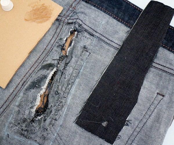 Patch Denim With Fabric Glue