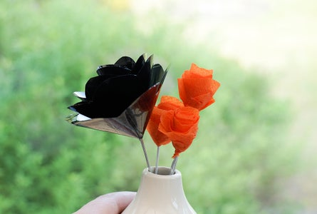 A Rose Made From Recycled VHS Tape | Quick & Easy Flower Bouquet | Orange & Black Halloween DIY