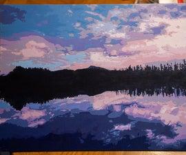 绘画减色的靛蓝/紫罗兰色景观