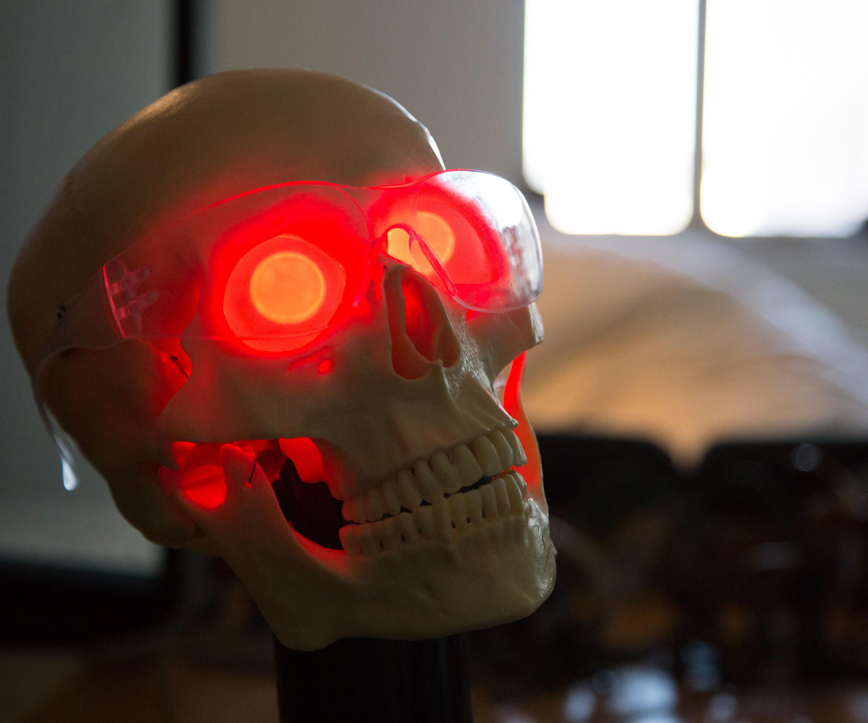 Eye-Glowing Robotic Skull