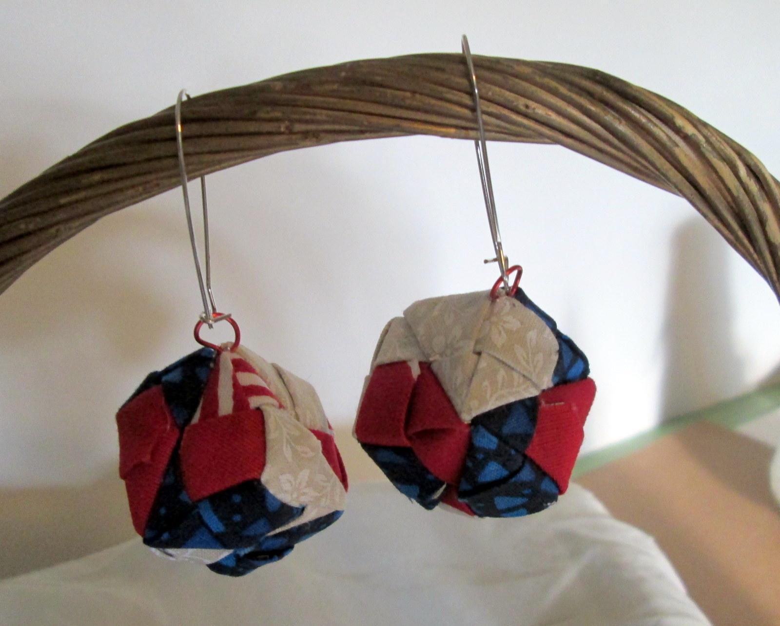Fabric Origami Cube Earrings