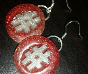 Hashtag Glitter Hot Glue Earrings