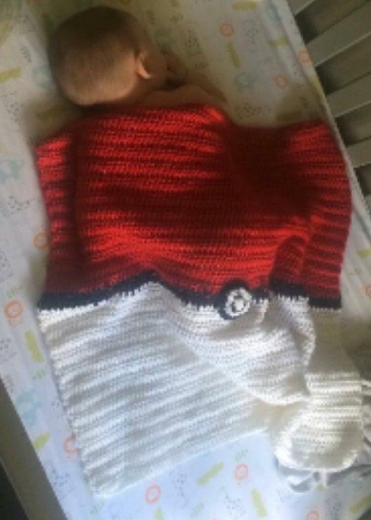 Lightweight Pokeball Baby Blanket