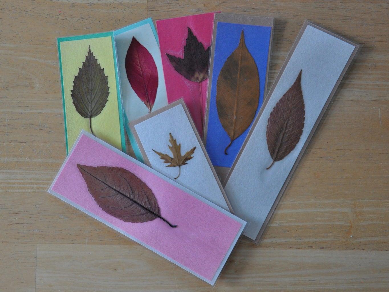 Pressed Leaf Bookmarks