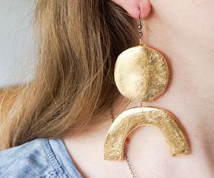 DIY Hot Glue Earrings!   Gold Leaf & Foil Fashion Jewellery