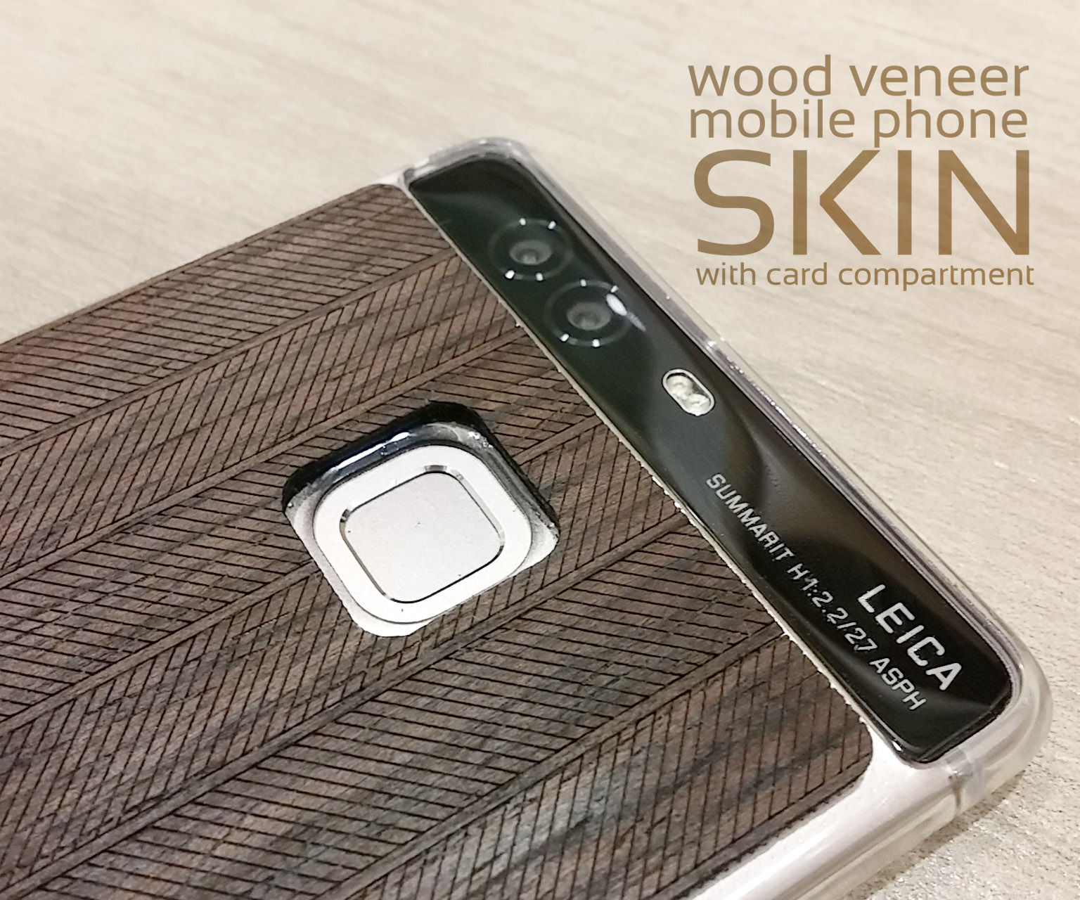 Wood Veneer Mobile Phone Skin With Card Compartment