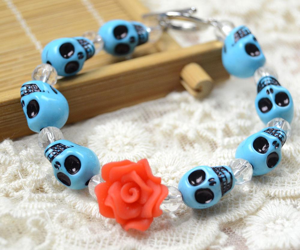 An Easy Halloween Turquoise Skull Bracelet for Girls
