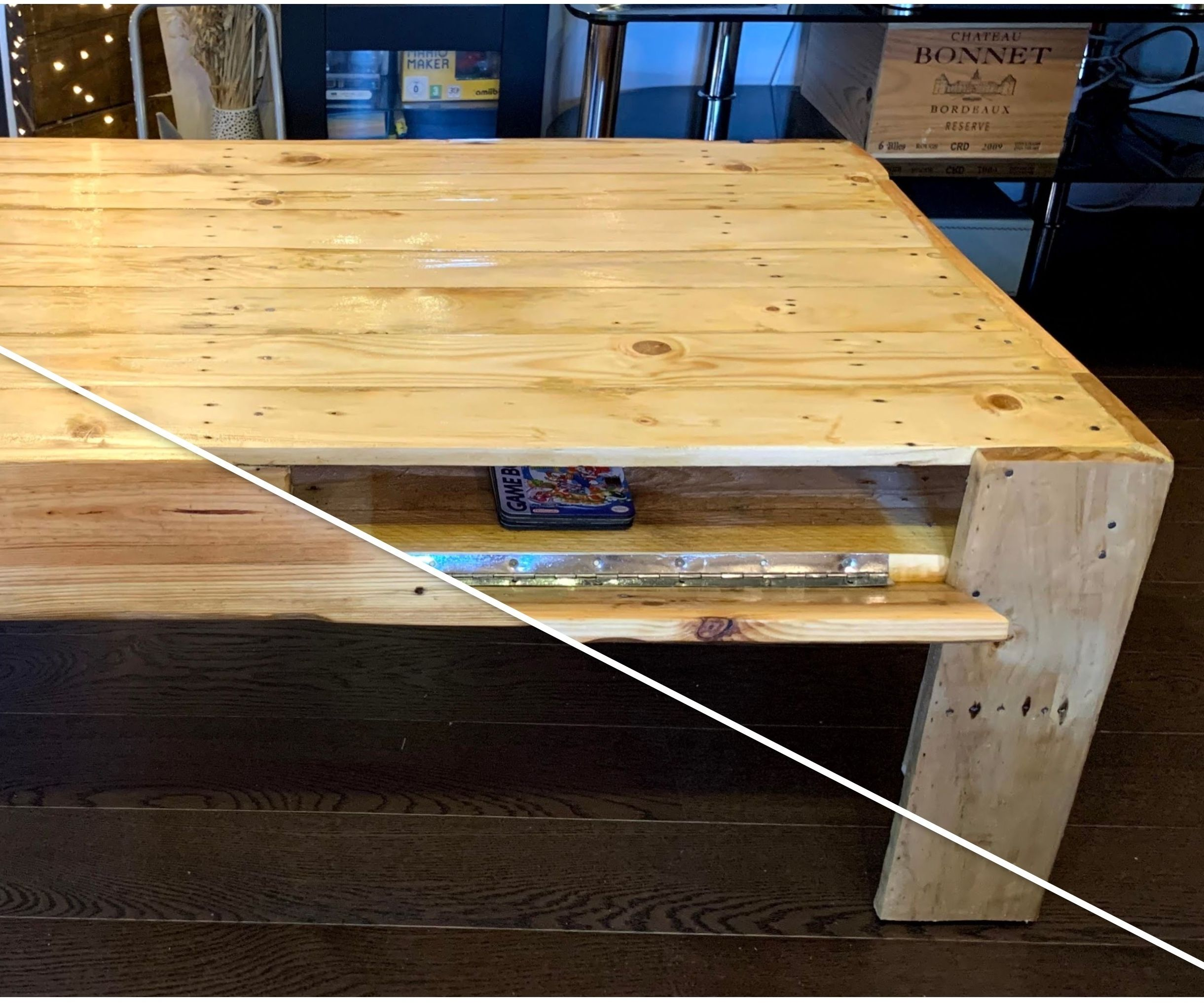 Pallet Coffee Table With Hidden Compartment and Invisible Wheels