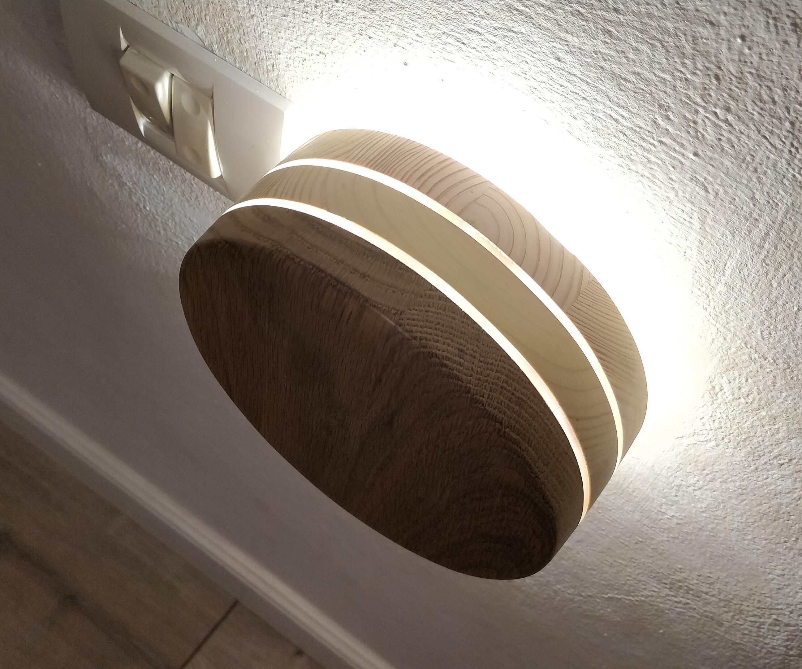 Plug-in Round Wood Wall LED Lamp | Portable Circle Socket Plug Night Lamp