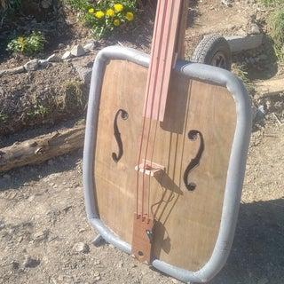 Building an Upright Bass Out of a Wheelbarrow!
