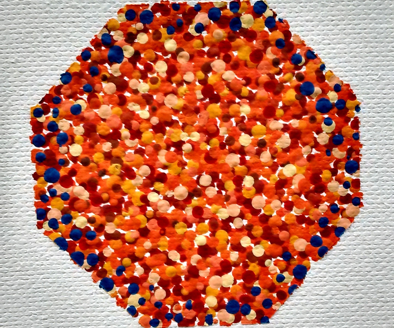 Pointillist Orange Octagon