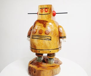 Carved Wood Instructables Robot