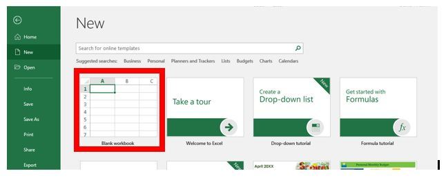 Open Excel and Open a New Document