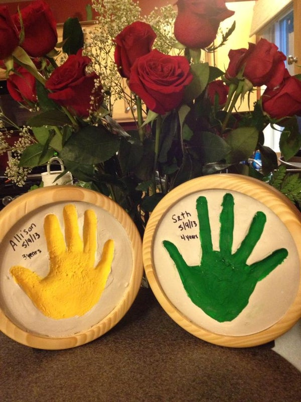 Mother's Day Handprints in a Solid Wooden Frame
