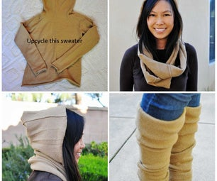 Upcycle a Wool Sweater Into a Hooded Circle Scarf and Leg Warmers