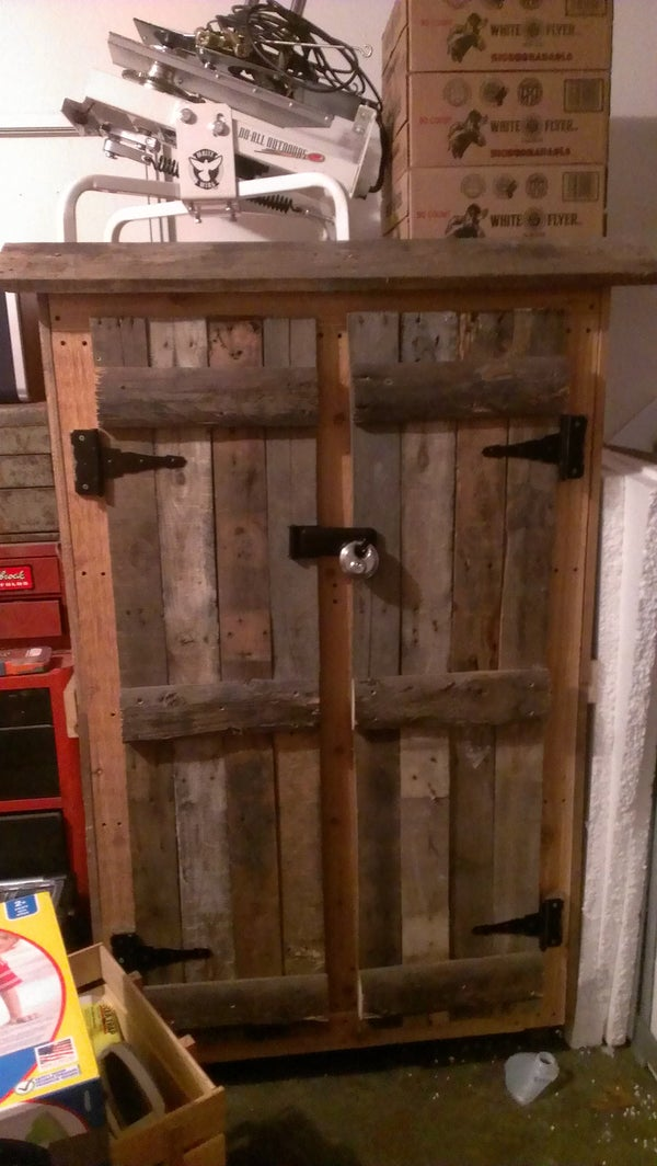 Repurposed Pallets Into Gun Cabinet