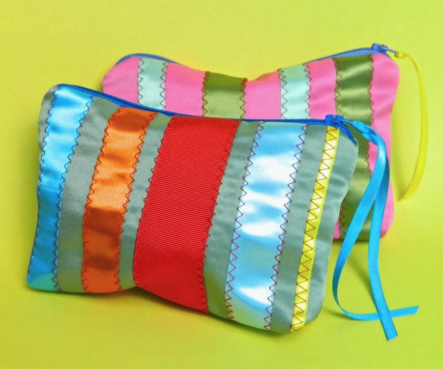 Ribbon Zipper Bag (fully lined)