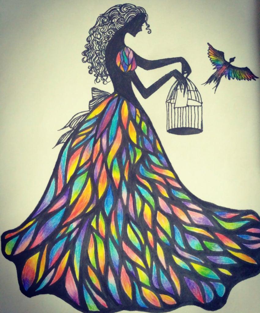 A Girl in Rainbow Shades.
