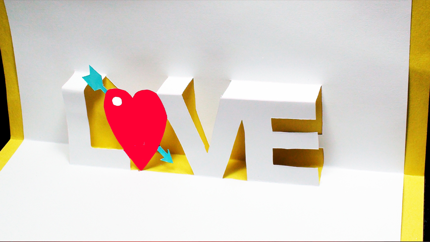 How to make a Love Pop Up Card Arrow Heart (Kirigami 3D) Valentine's Day Greeting Card!